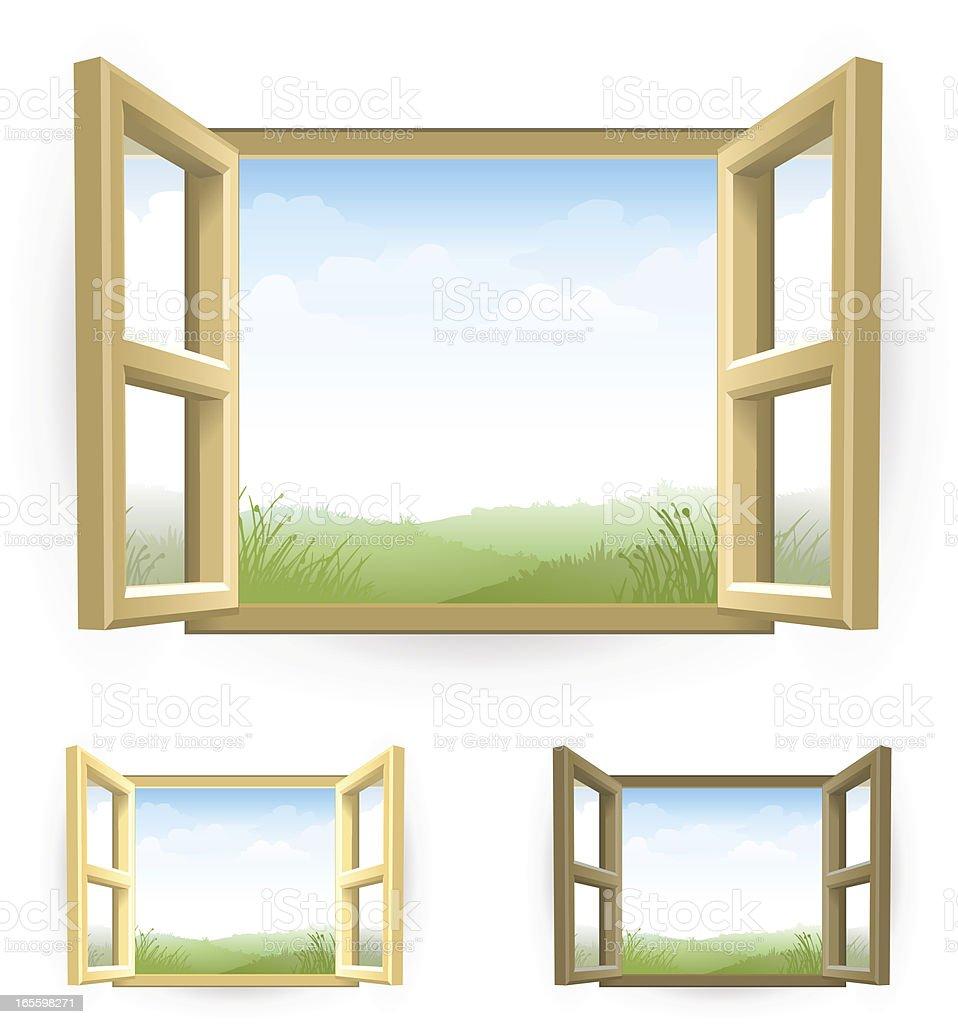 Open Window with Scenery vector art illustration