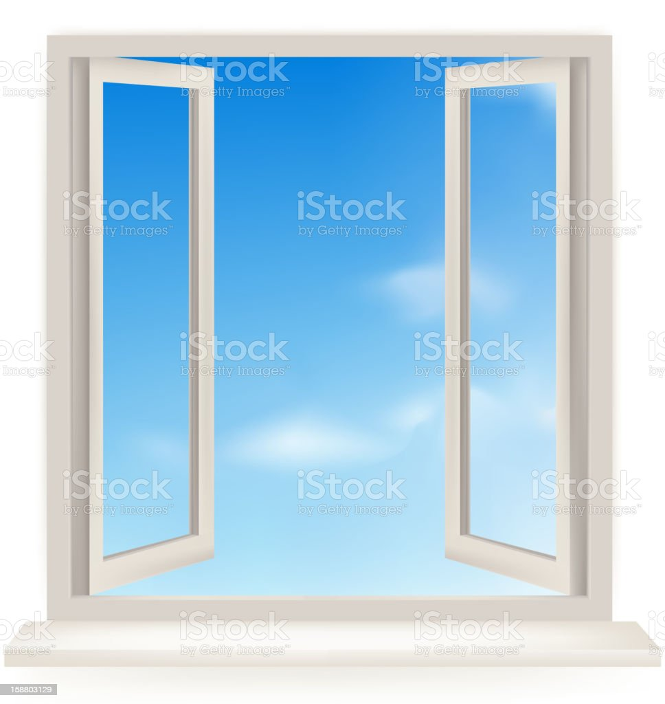 Open window with the sky and sun. royalty-free stock vector art