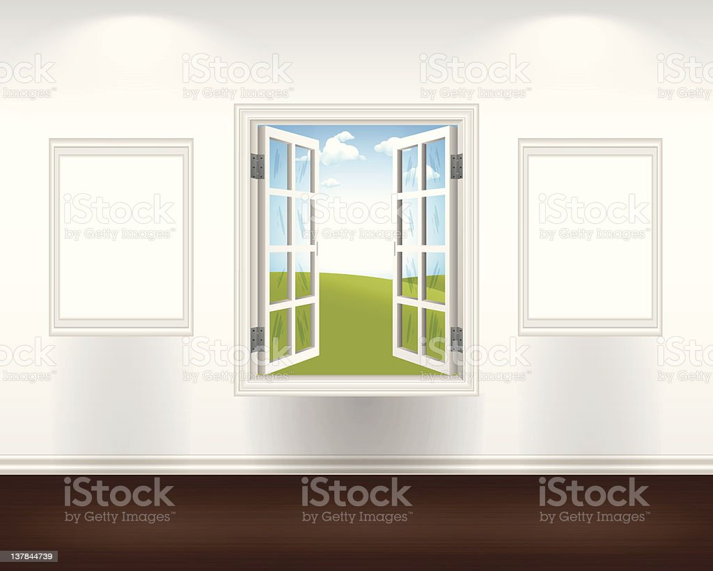 Open Window with Two Blank Frames royalty-free stock vector art