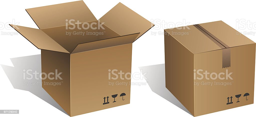 Opened and closed carton vector art illustration
