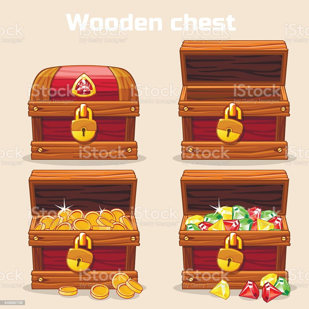 Opened and closed chest with coins diamonds vector art illustration