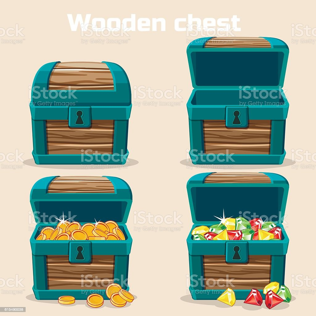 Opened and closed chest with coins, diamonds vector art illustration