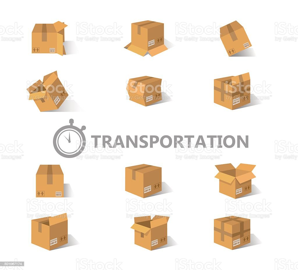 Opened and closed old, worn and new cardboard boxes. vector art illustration