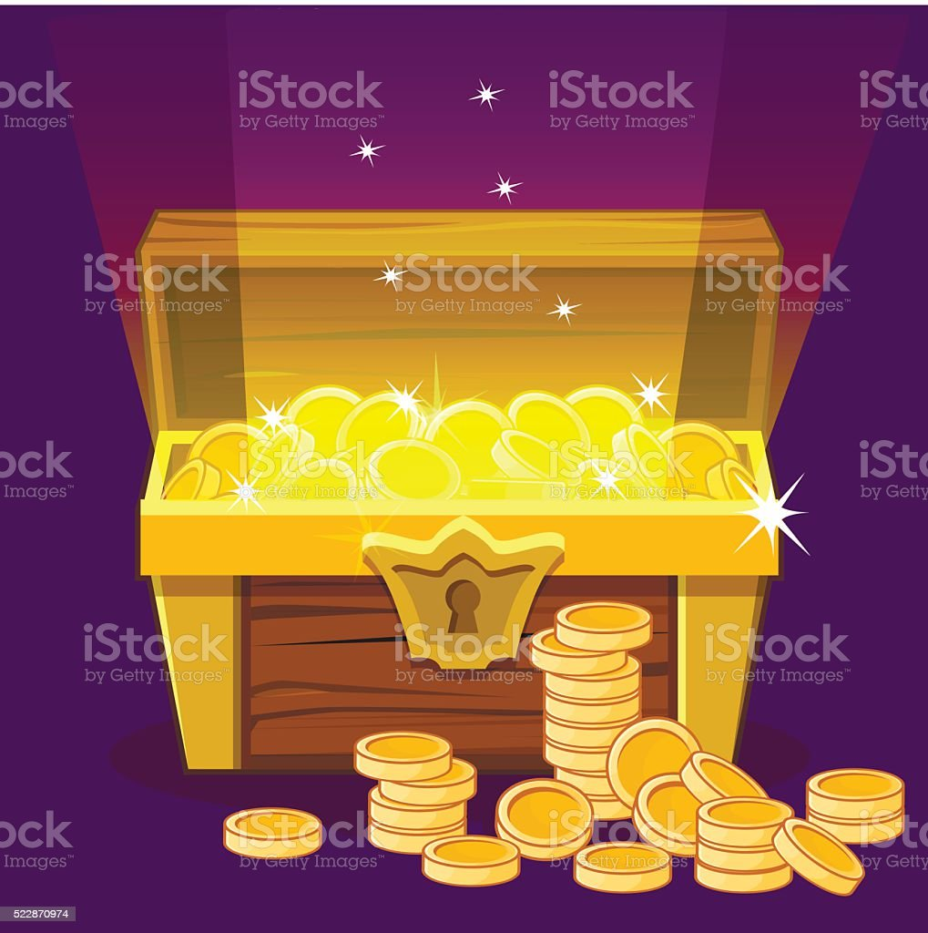 Opened antique treasure chest, coin vector art illustration