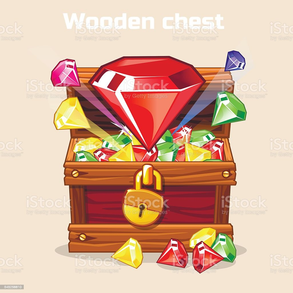 Opened antique treasure chest with diamonds vector art illustration