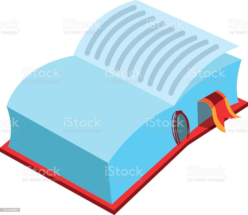Opened big book with a bookmark. vector art illustration