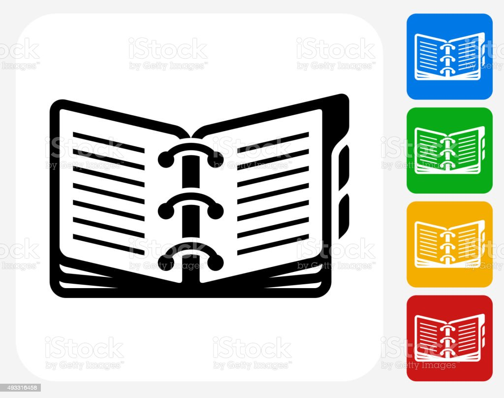 Opened Binder Icon Flat Graphic Design vector art illustration