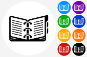 Opened Binder Icon on Flat Color Circle Buttons