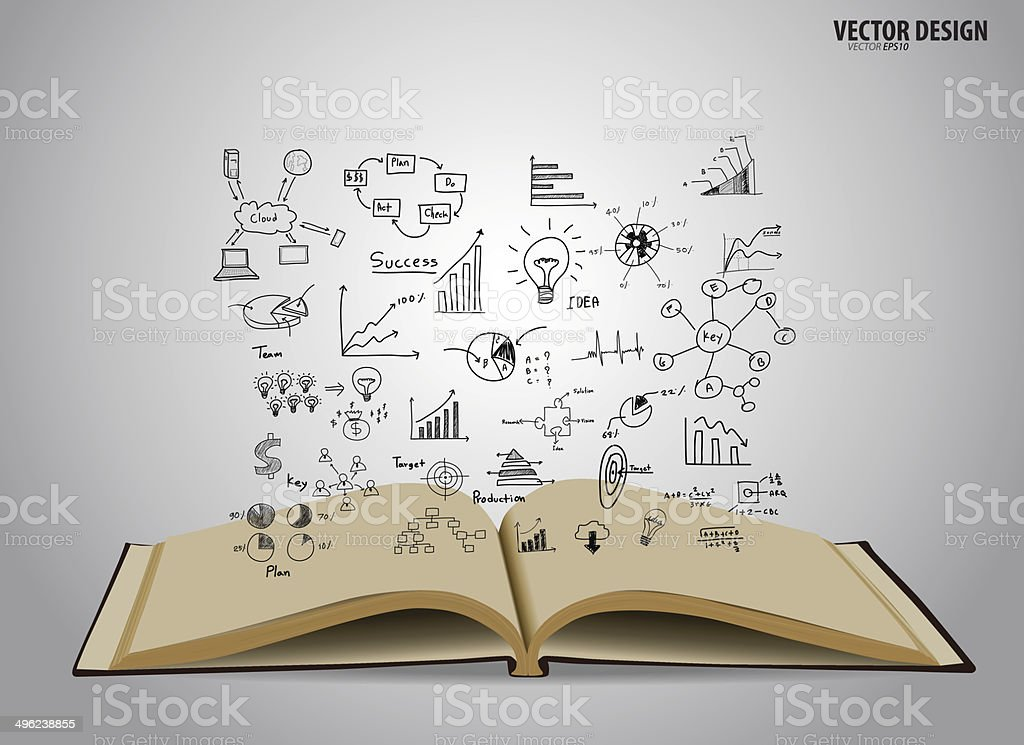 Opened book with cloud of application. Vector illustration. vector art illustration