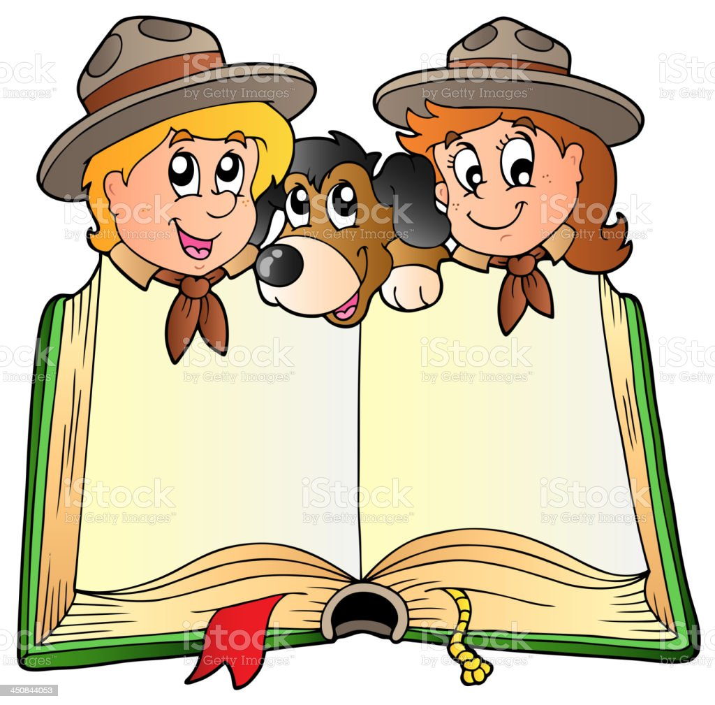Opened book with two scouts and dog royalty-free stock vector art