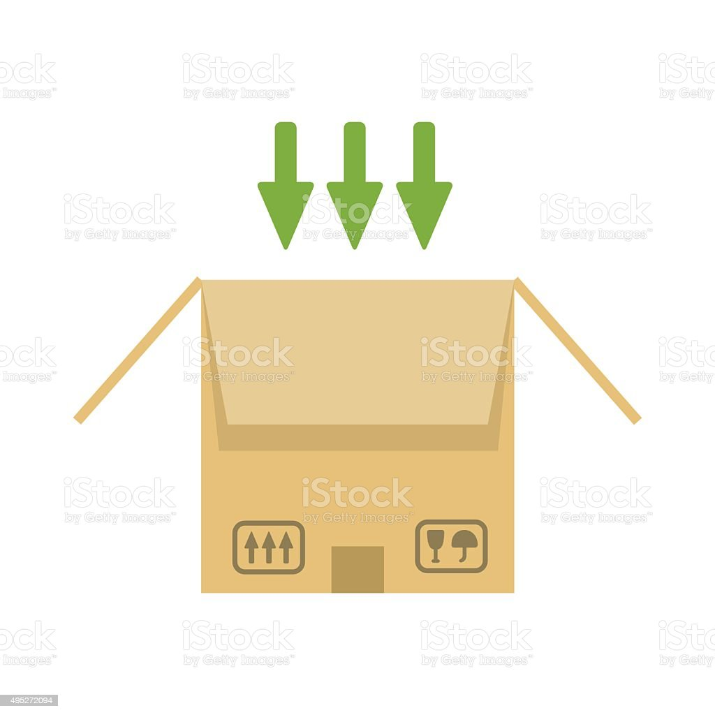 Opened cardboard package box vector art illustration