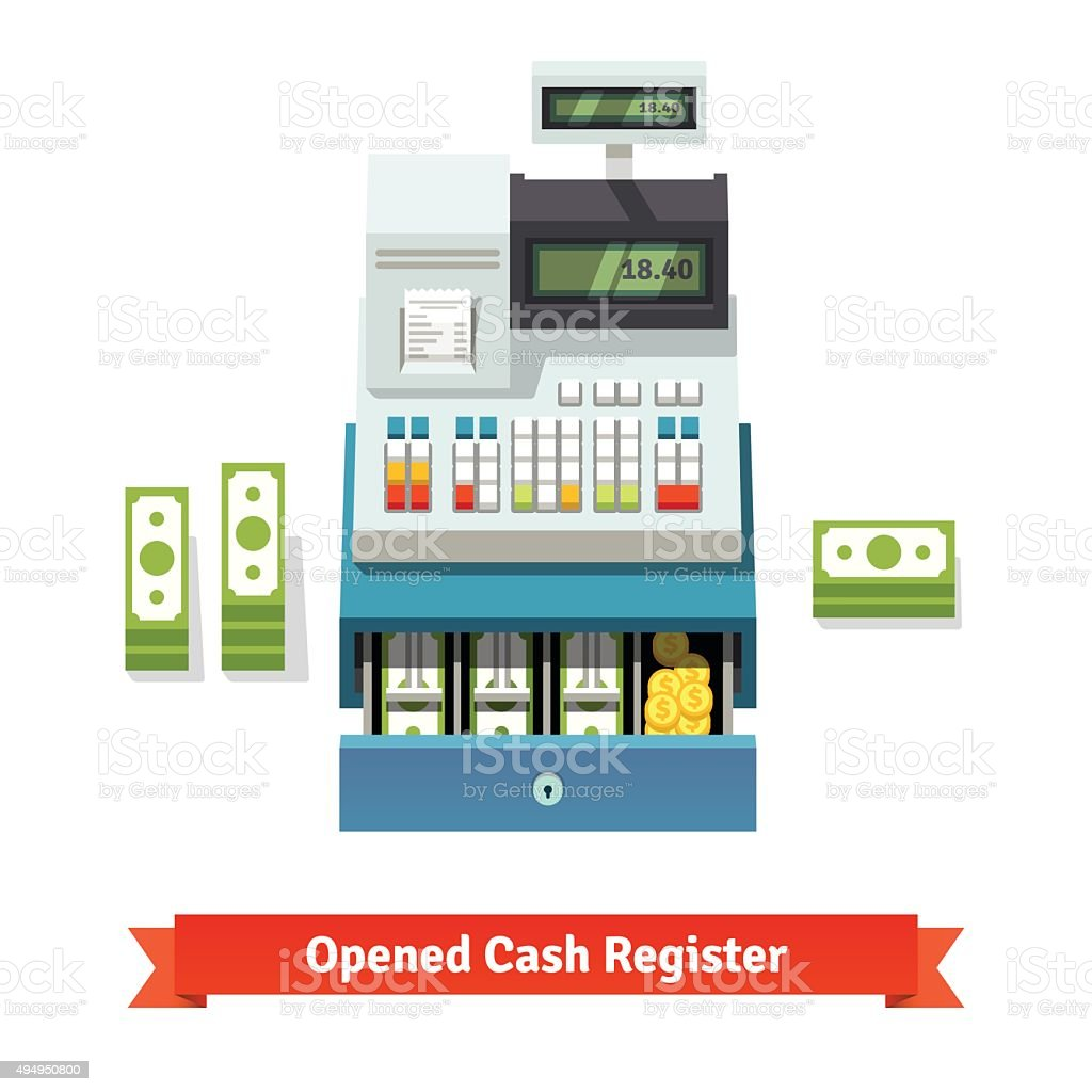 Opened cash register, paper money and coins inside vector art illustration
