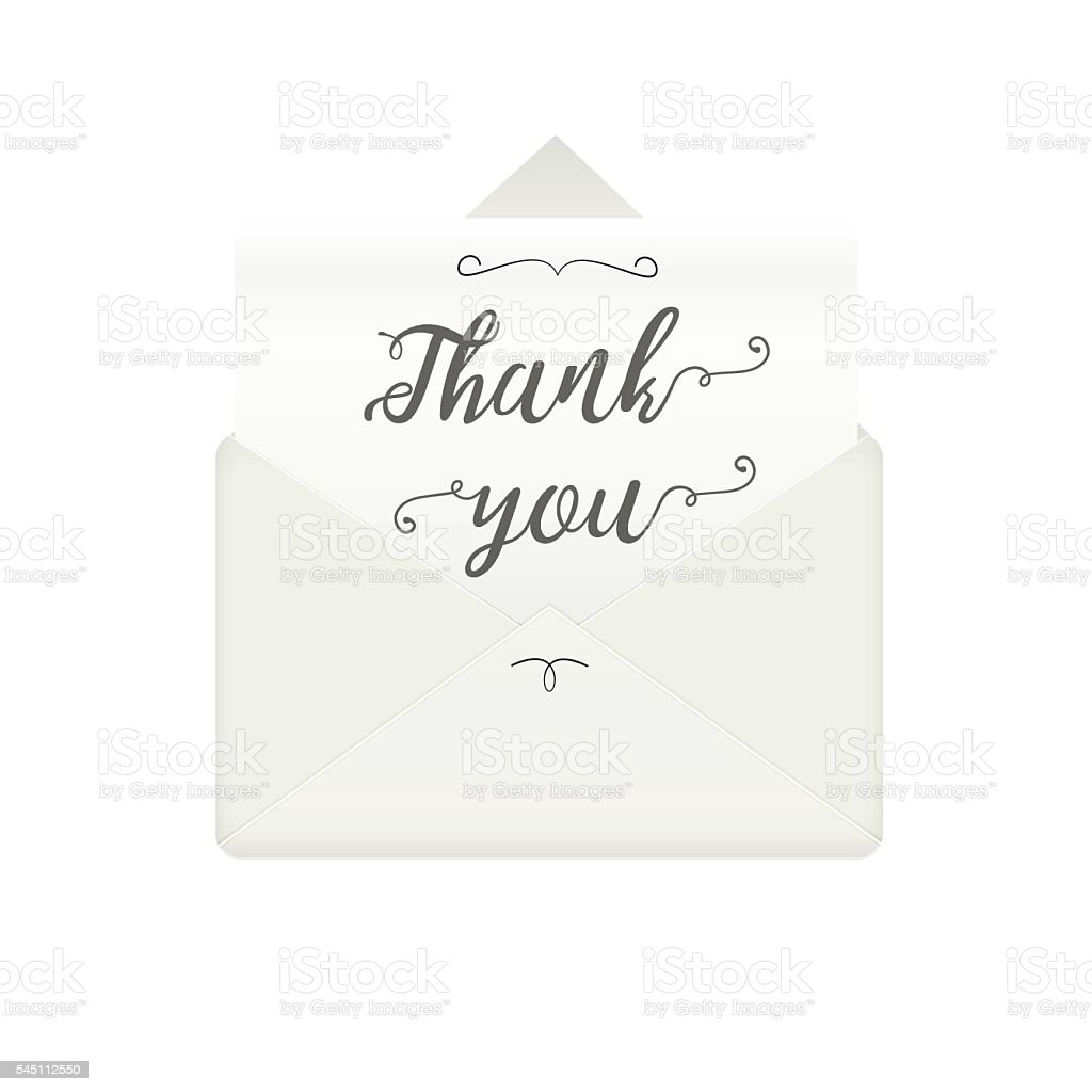 Opened envelope with message thank you vector art illustration