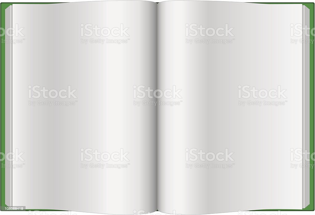 Opened green journal with blank pages royalty-free stock vector art