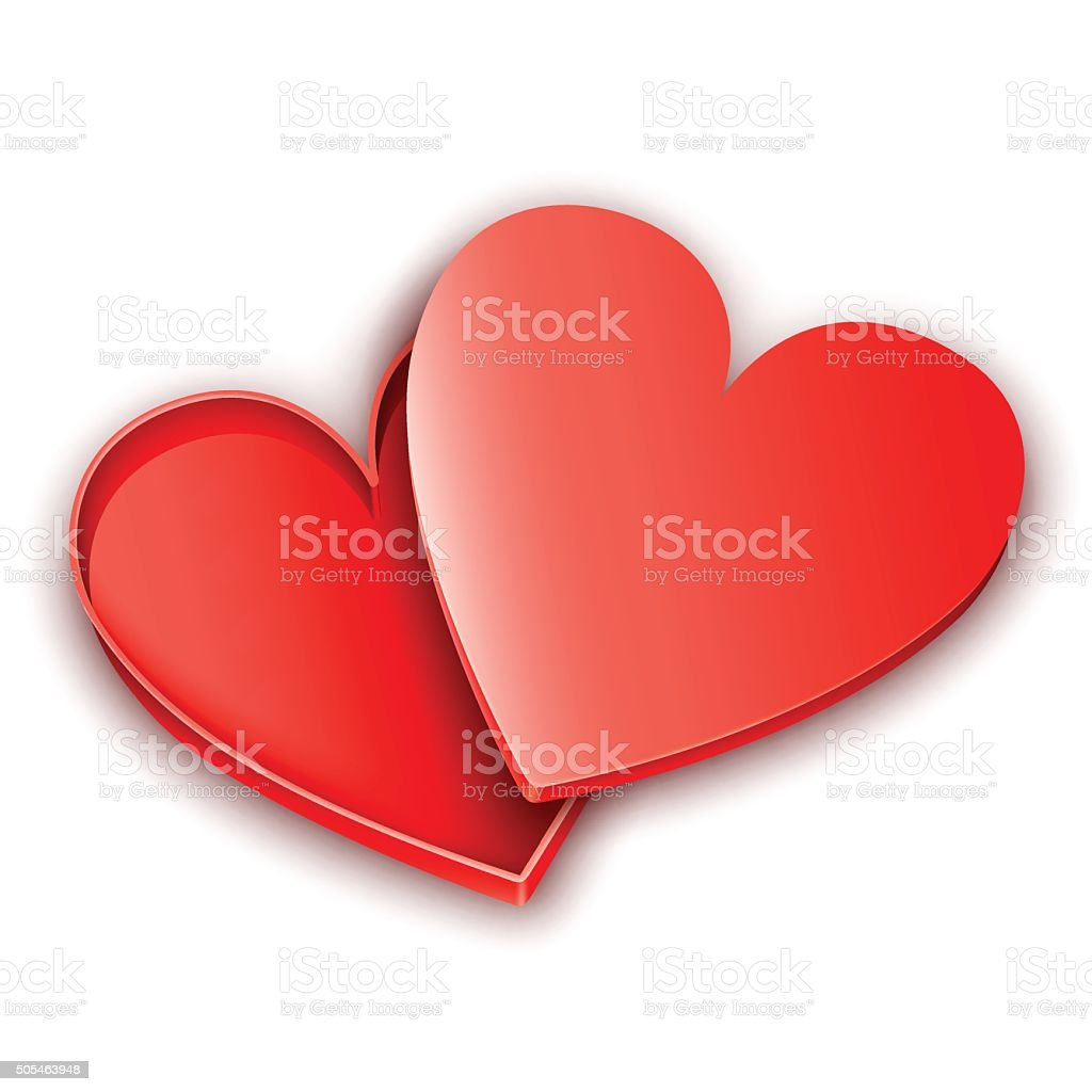 Opened Heart Gift Box vector art illustration