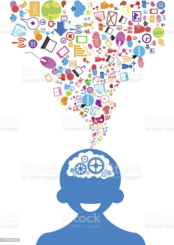 opened male head generating ideas Social network background vector art illustration