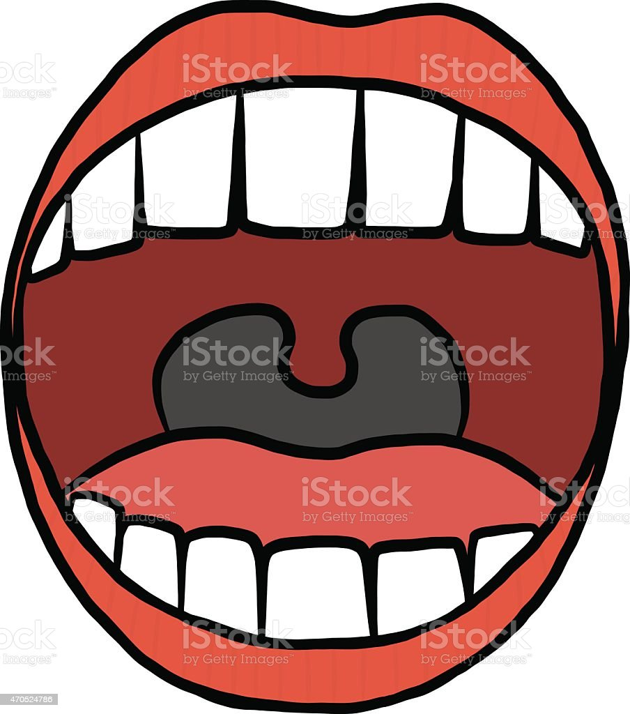 opened mouth vector art illustration