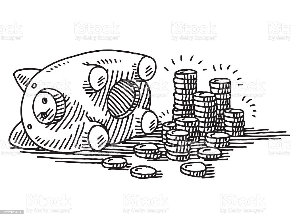 Opened Piggy Bank Coins Savings Drawing vector art illustration