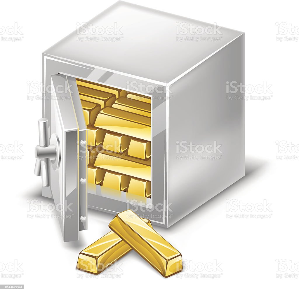 Opened safe with gold ingots royalty-free stock vector art