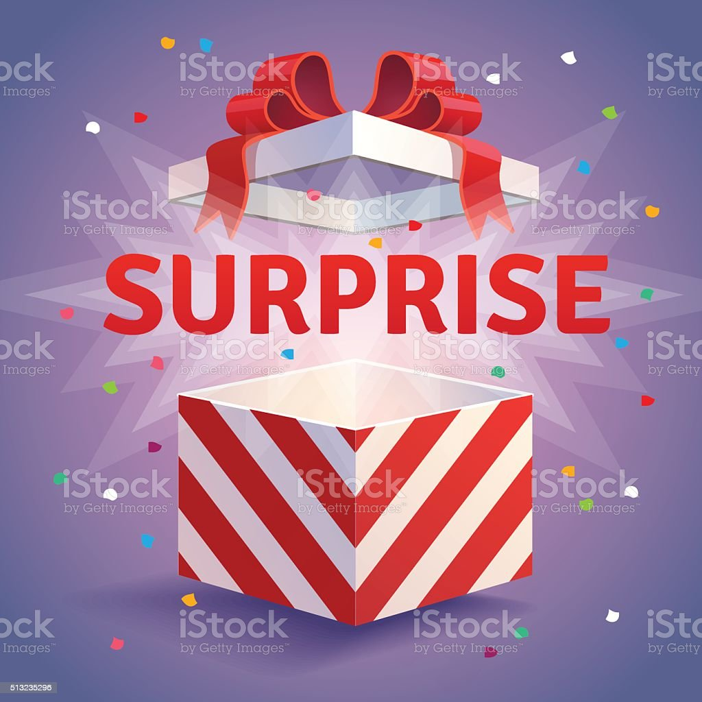 Opened surprise gift box vector art illustration