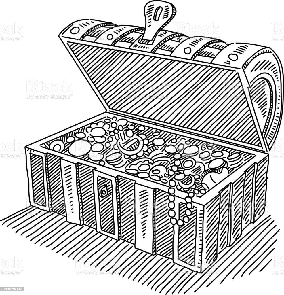 Opened Treasure Chest Drawing vector art illustration