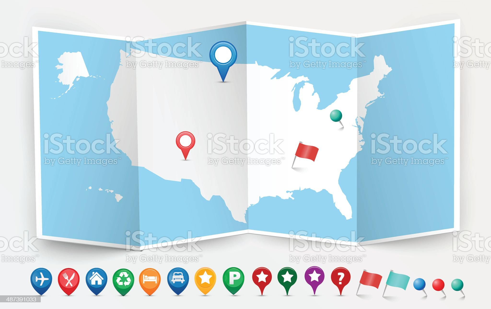 Opened USA Map Kit royalty-free stock vector art