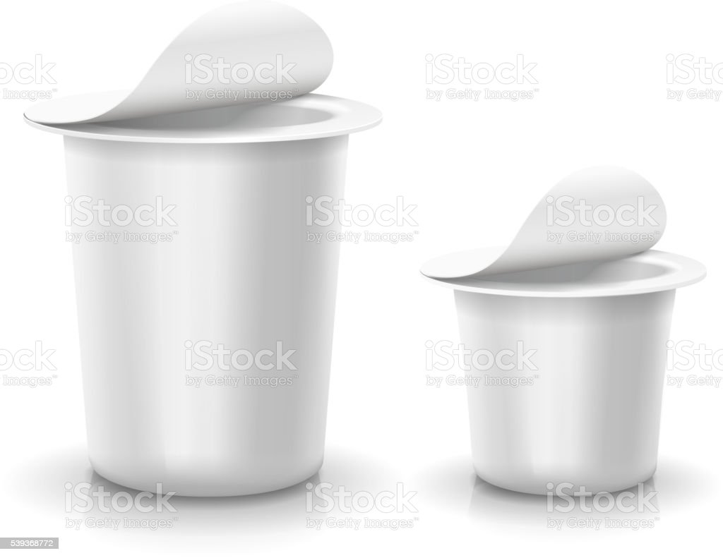 Opened white cup tub food plastic container for dessert, yogurt, vector art illustration