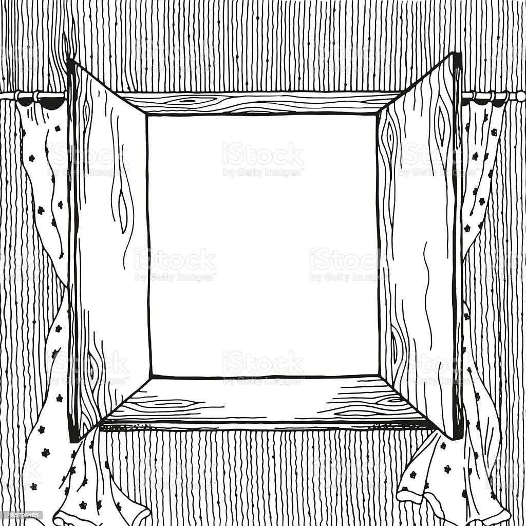 Opened window with empty space, white flowing curtains. vector art illustration