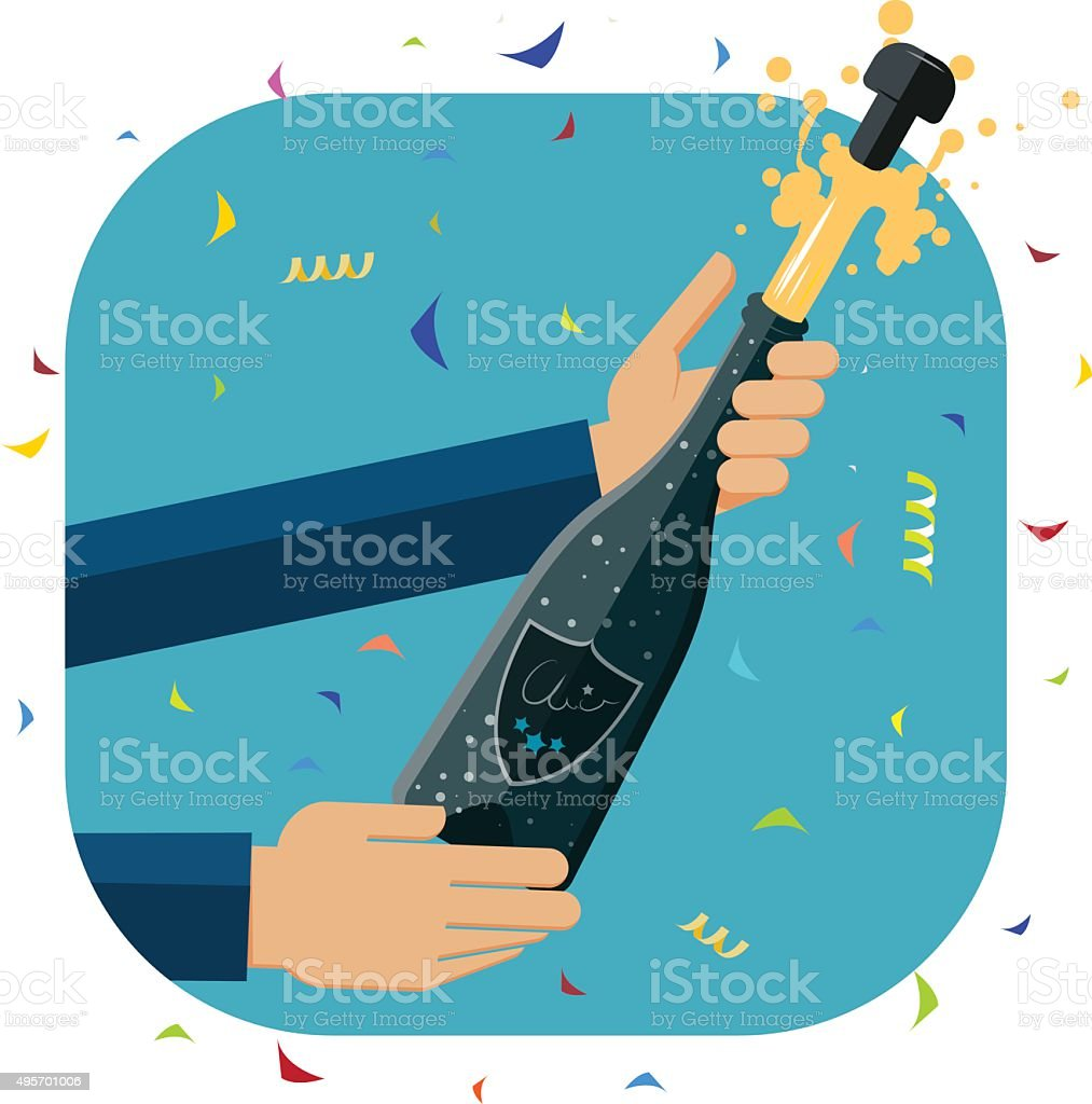 Opening a a bottle of champagne. vector art illustration