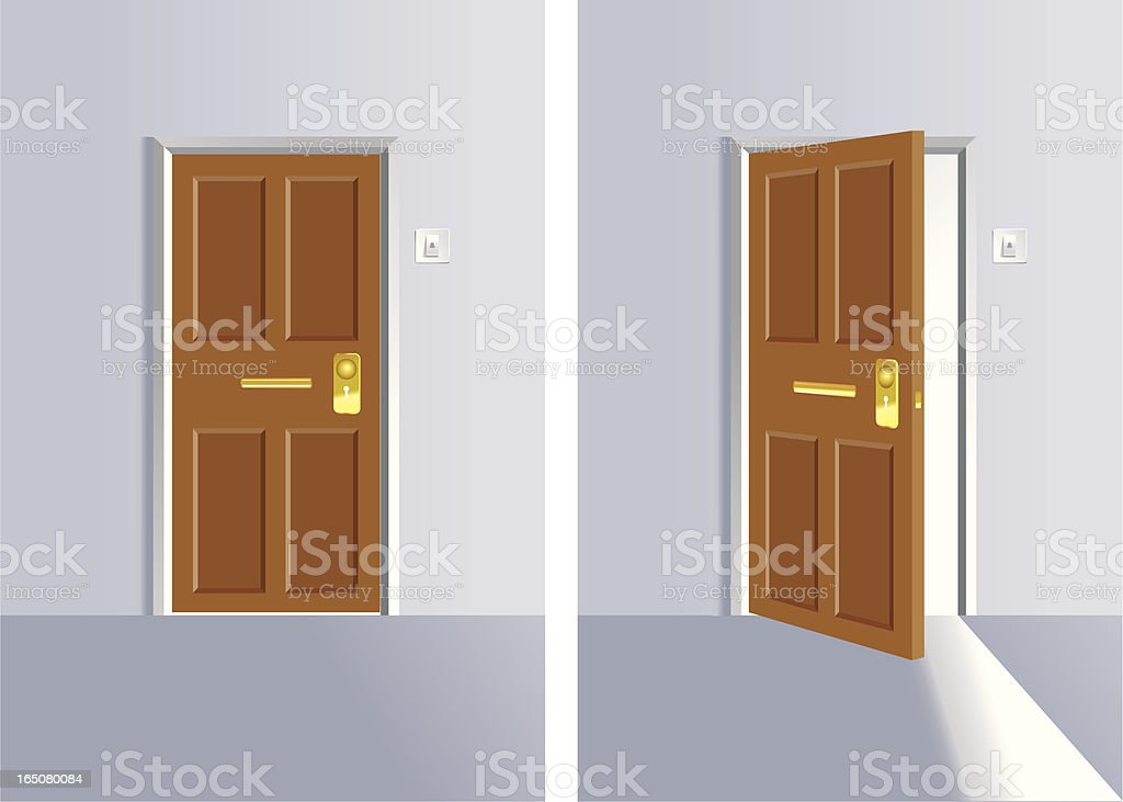 Opening and close door vector art illustration