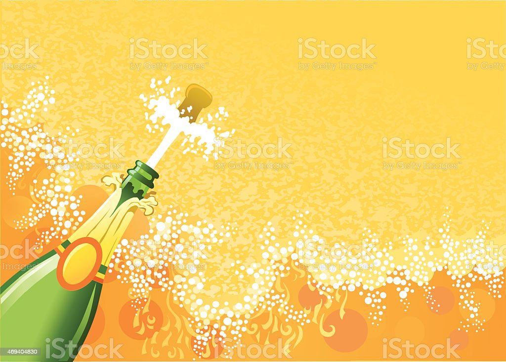 Opening Champagne as Cork Explodes with Spray and Copy Space vector art illustration