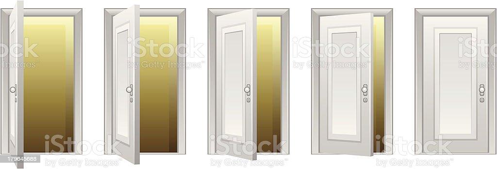 Opening door vector art illustration