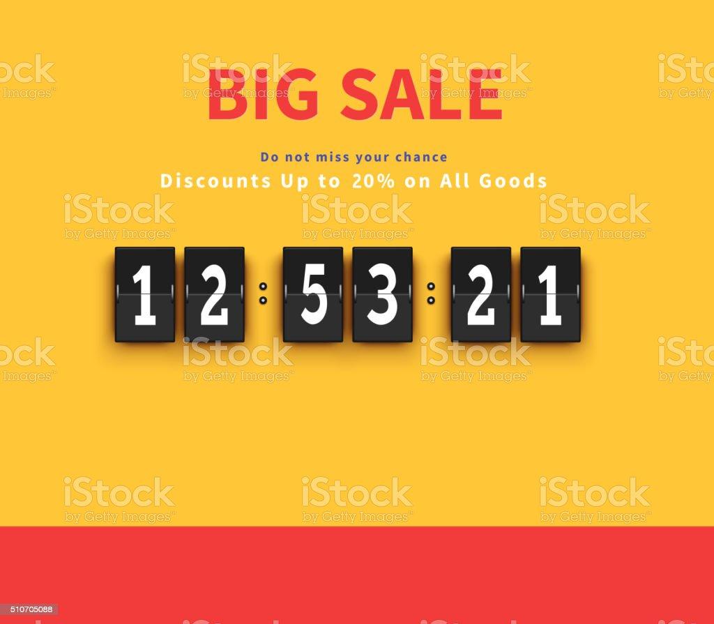 Opening Soon. Big Sale Countdown vector art illustration