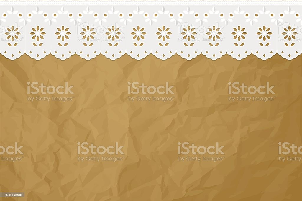 Openwork curtain drapery on a crumpled paper brown background. vector art illustration