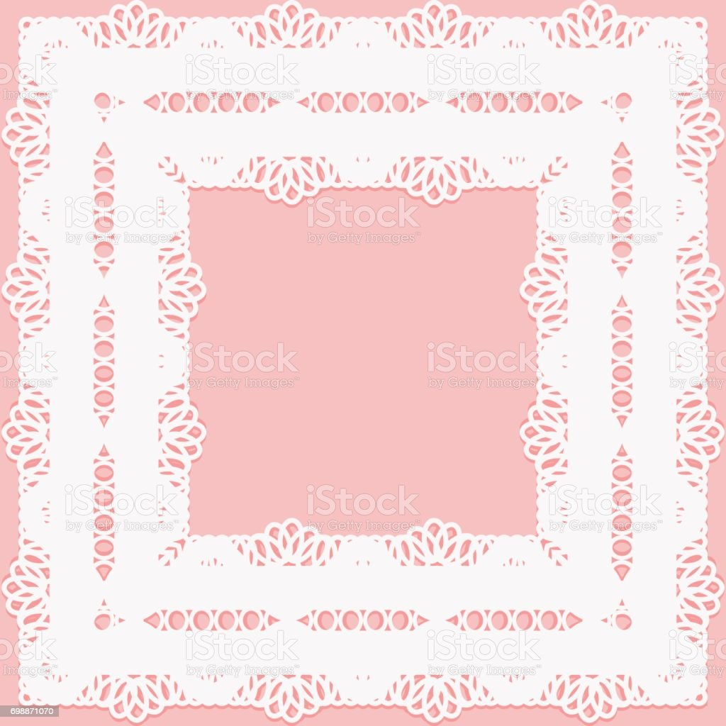Openwork lace frame on a pink background. vector art illustration