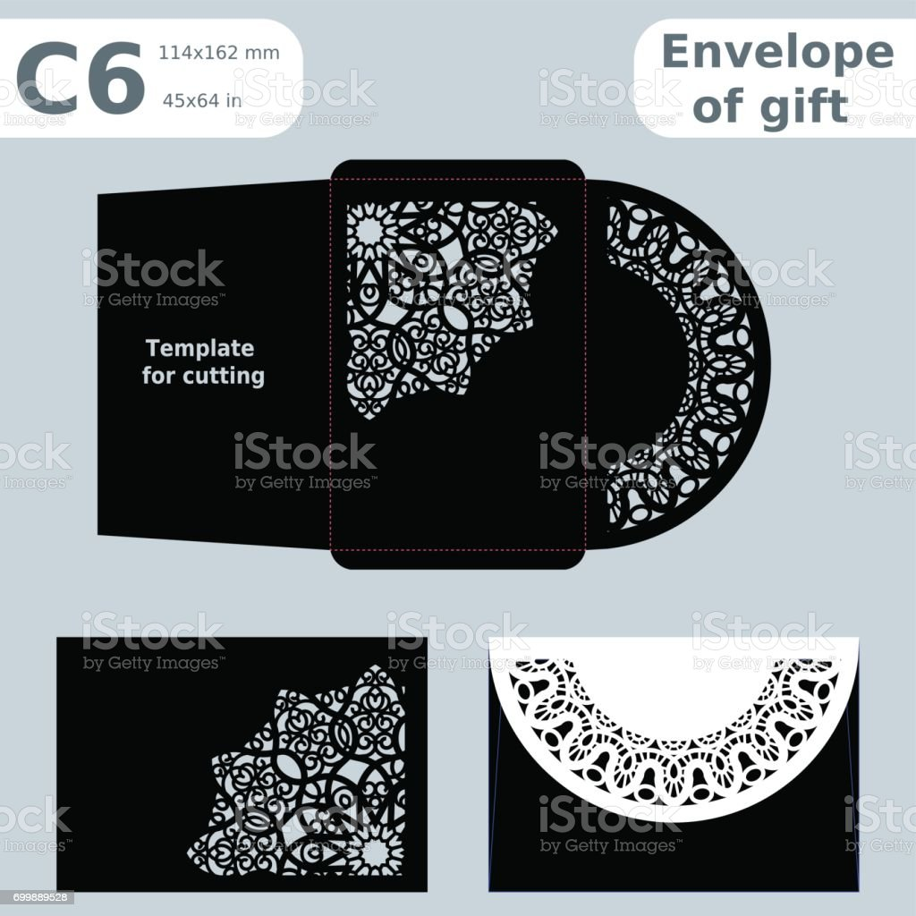 C6 openwork paper converter for romantic messages,template  for cutting, lace pattern, envelope greetings, laser cutting template,  presents packing, vector illustrations. vector art illustration
