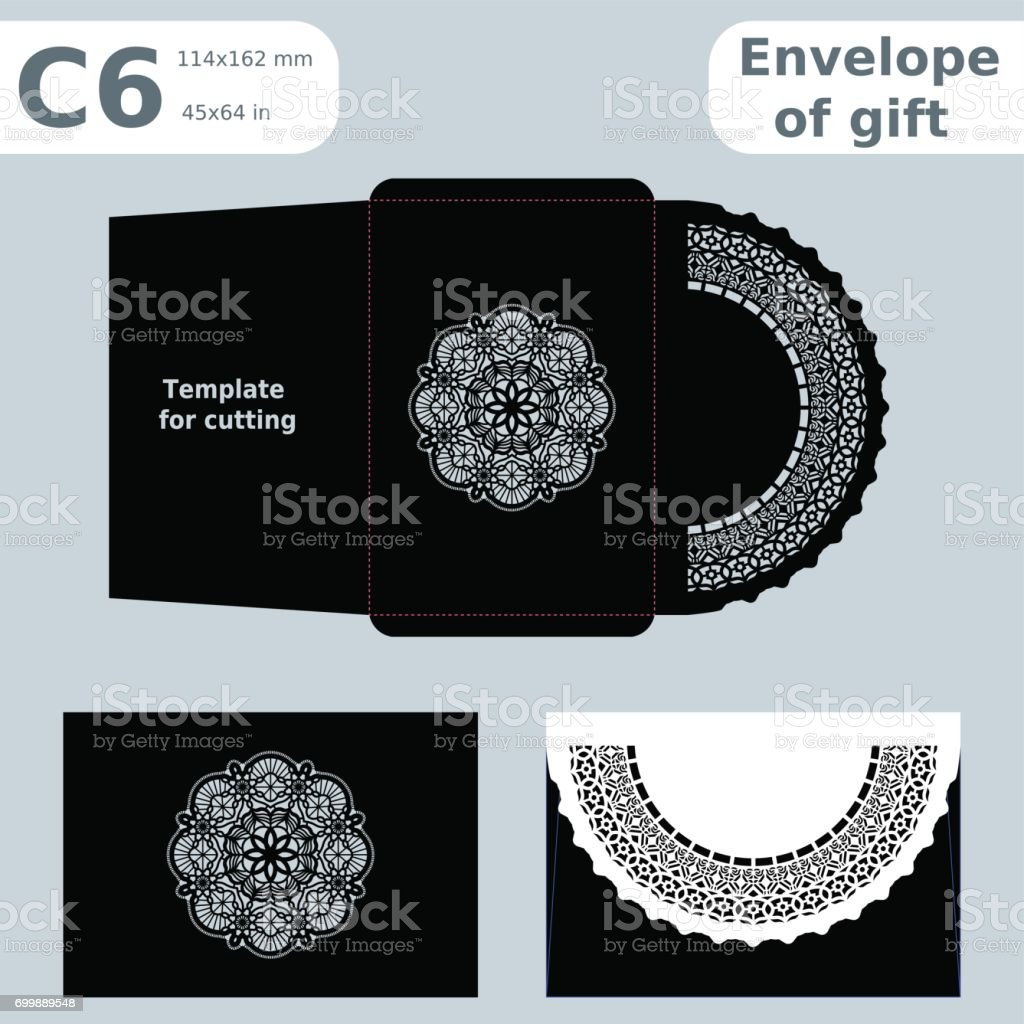 6 openwork paper converter for romantic messages,template  for cutting, lace pattern, envelope greetings, laser cutting template,  presents packing, vector illustrations. vector art illustration