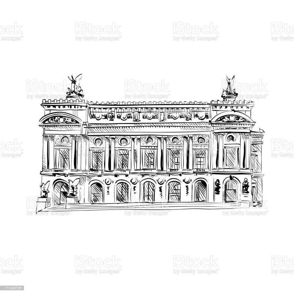 Opera Garnier, Paris, France. Vector illustration vector art illustration