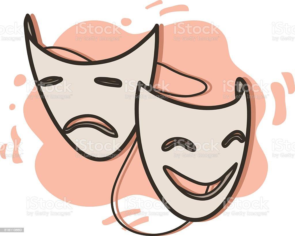 Opera Masks vector art illustration
