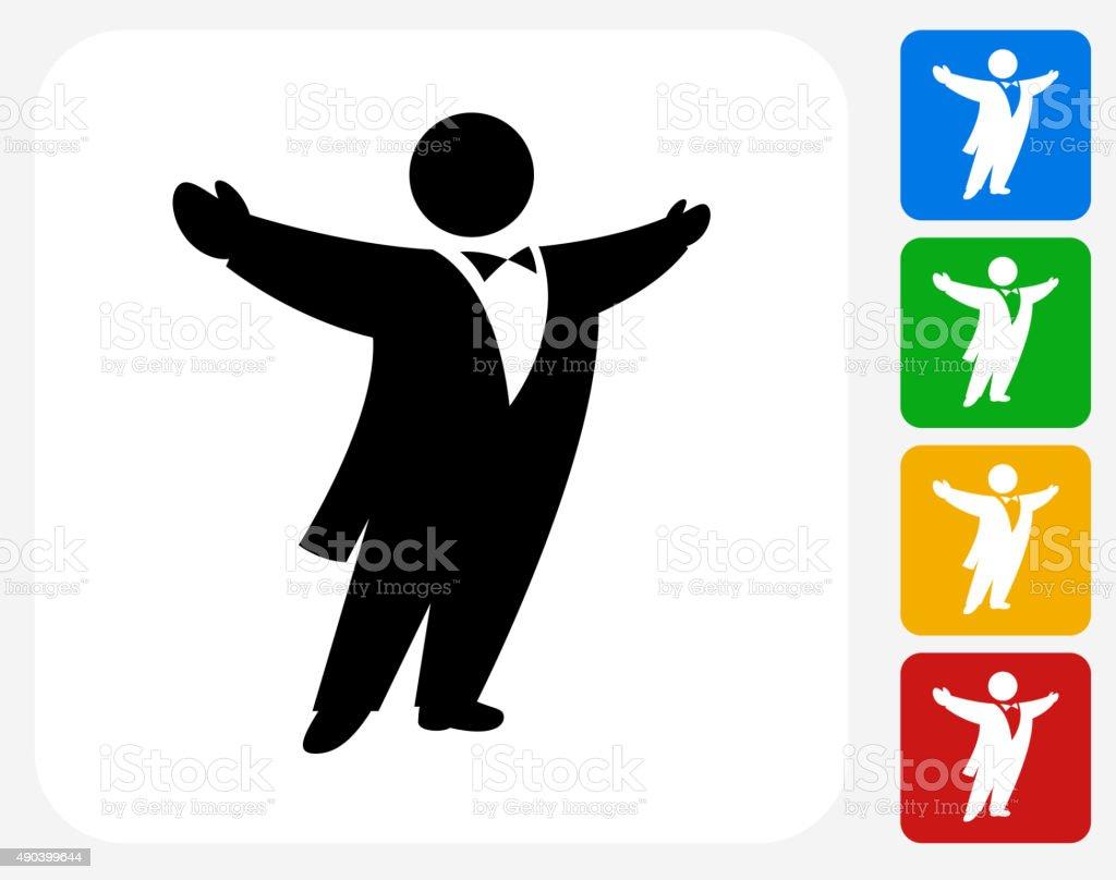 Opera Singer Icon Flat Graphic Design vector art illustration