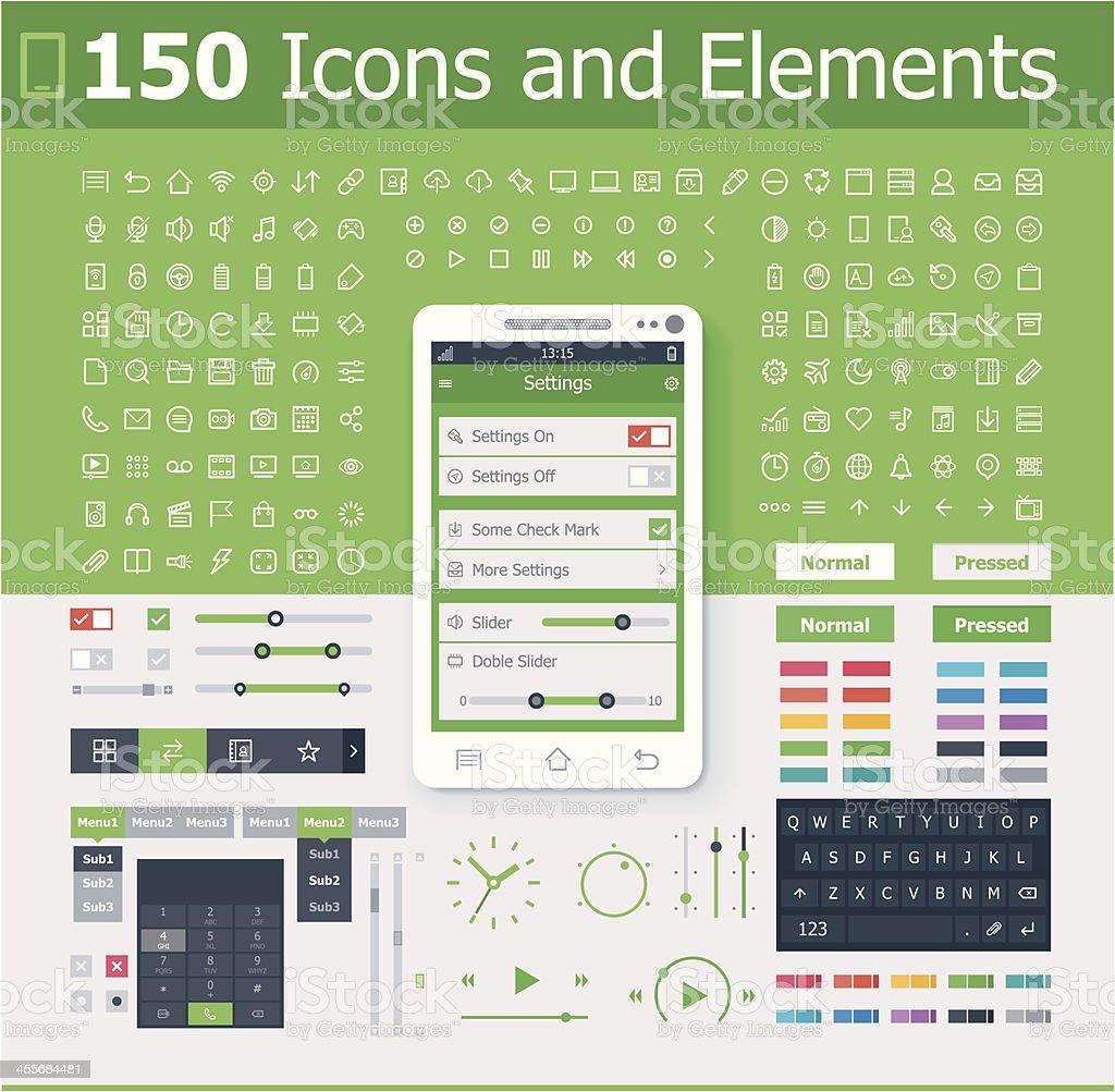 Operating system interface elements vector art illustration