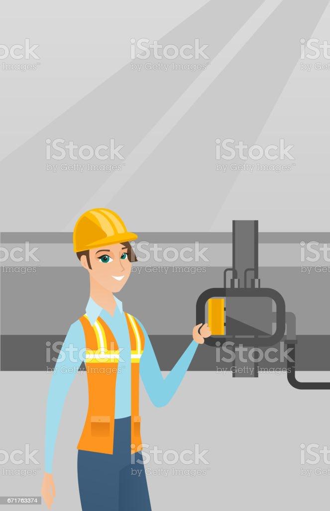 Operator checking detector on gas pipeline vector art illustration