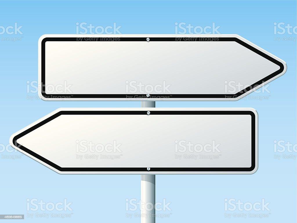 Opposite Direction Road Sign vector art illustration