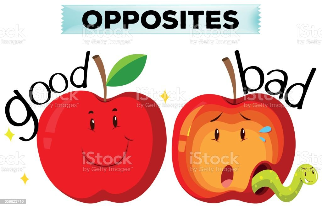 Opposite wordcard with good and bad vector art illustration
