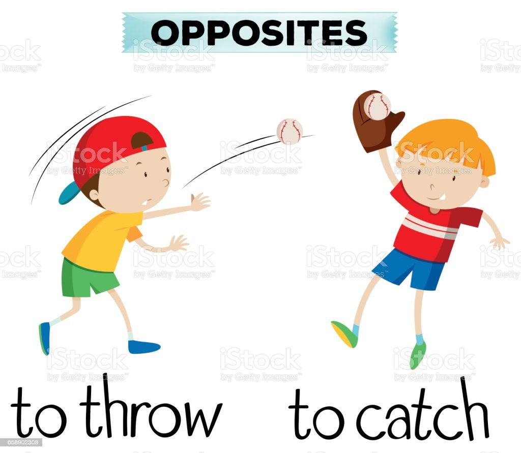 Opposite words with throw and catch vector art illustration