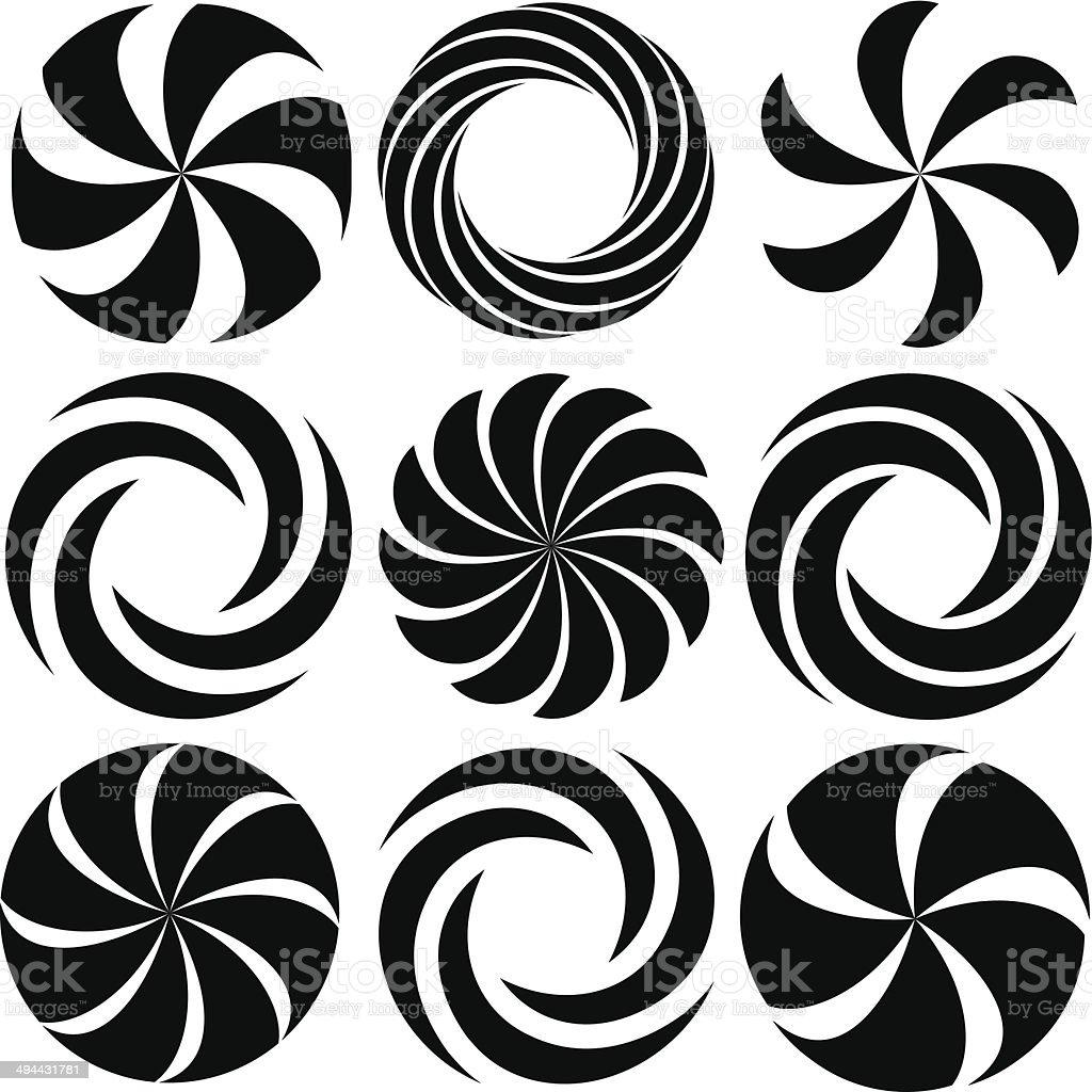 Optical Art Spirals vector art illustration