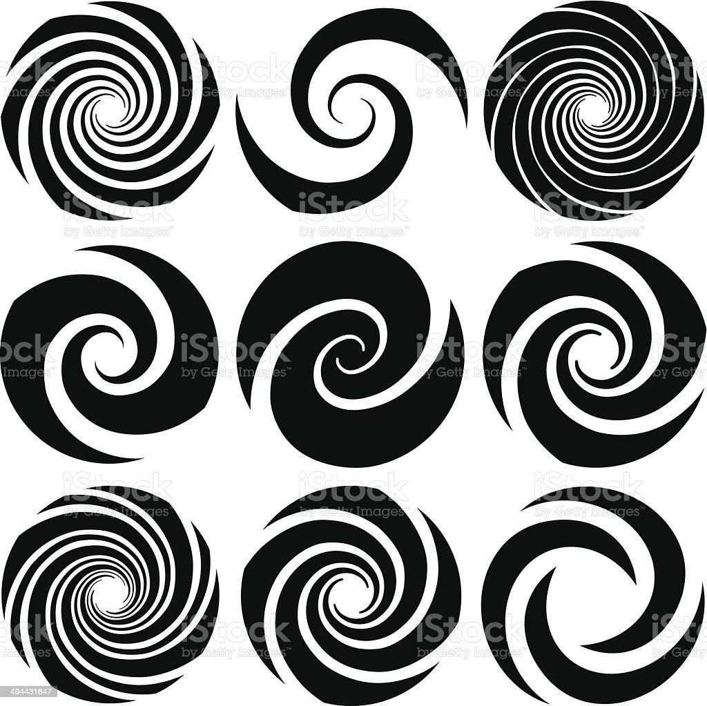 Optical Art Spirals vector art illustration