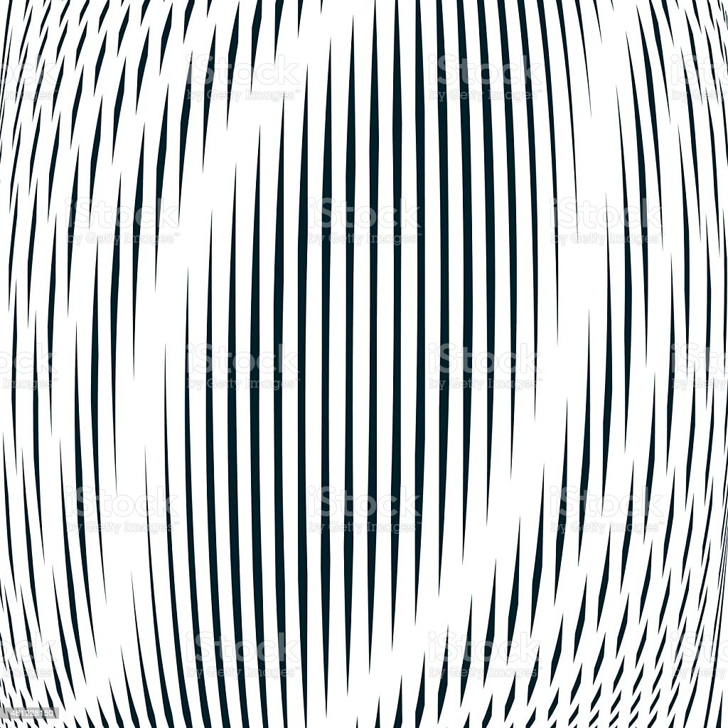 Optical background, monochrome geometric lines. Moire pattern vector art illustration