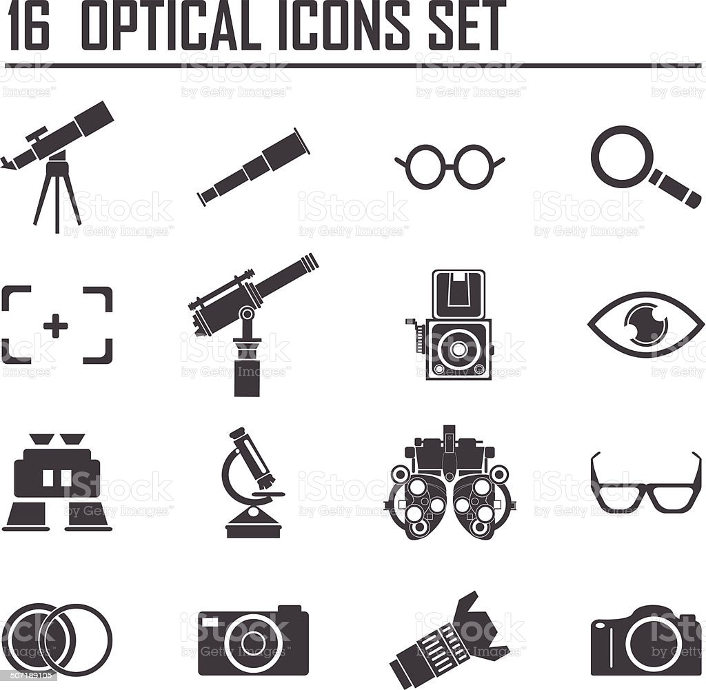 16 Optical icon set vector art illustration