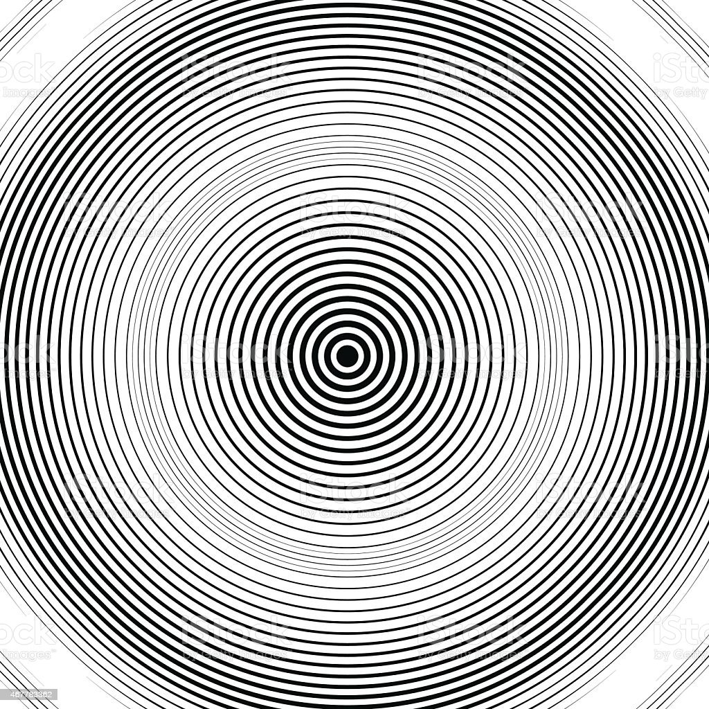 Optical illusion, moire background, abstract lined monochrome vector art illustration
